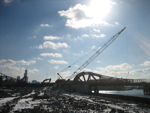North Avenue bridge, partial demolition