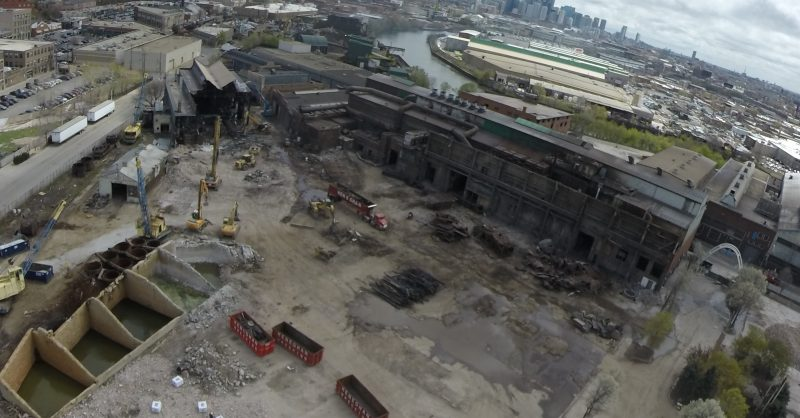 aerial view of demolition project